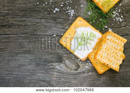 Biscuits Salty Crackers, Dill And Soft Cheese, Rustic Style