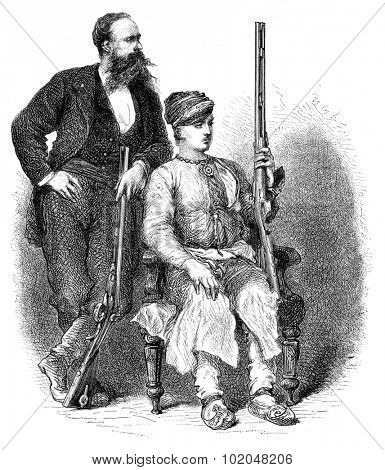 The Maharana of Udaipur and the English ambassador, vintage engraved illustration. Le Tour du Monde, Travel Journal, (1872).