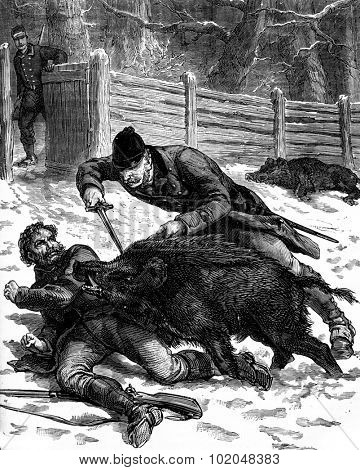 A boar hunt. One of the animals was thrown over a guard, vintage engraved illustration. Journal des Voyages, Travel Journal, (1879-80).
