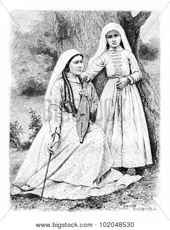 My Hostess and Her Daughter in Zugdidi, Georgia, drawing by Sirouy based on a photograph, vintage illustration. Le Tour du Monde, Travel Journal, 1881