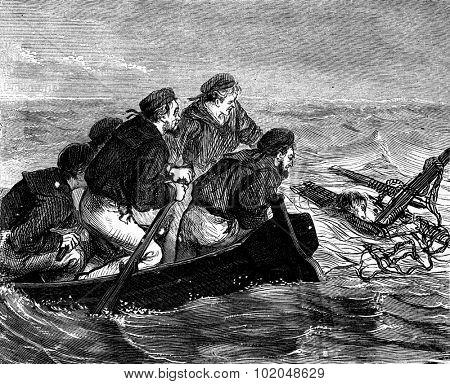 A shipwreck. The sailors swim with all their might, vintage engraved illustration. Journal des Voyages, Travel Journal, (1879-80).