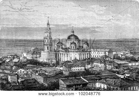 Kazan Monastery, vintage engraved illustration. Le Tour du Monde, Travel Journal, (1872).