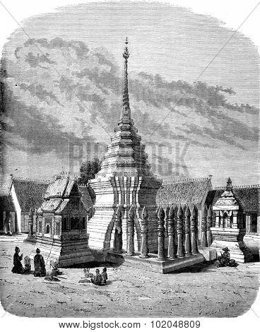 Tat Chom Yong, vintage engraved illustration. Le Tour du Monde, Travel Journal, (1872).