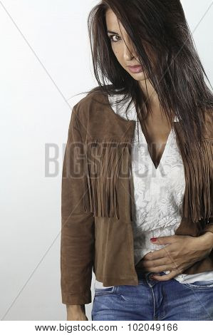 beautiful female wearing a suede jacket
