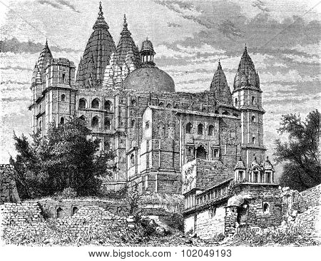 The great temple of Chaturbhuj, Orchha, vintage engraved illustration. Le Tour du Monde, Travel Journal, (1872).