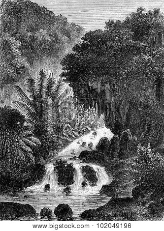 Cataract in Ambon, vintage engraved illustration. Le Tour du Monde, Travel Journal, (1872).