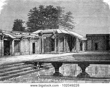 Sultan Palace, Fatehpur Sikri, vintage engraved illustration. Le Tour du Monde, Travel Journal, (1872).