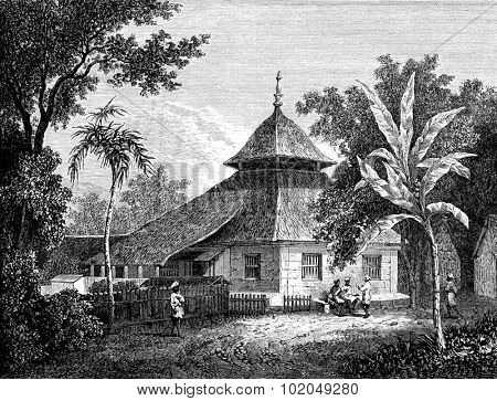 Mosque in Ambon, vintage engraved illustration. Le Tour du Monde, Travel Journal, (1872).
