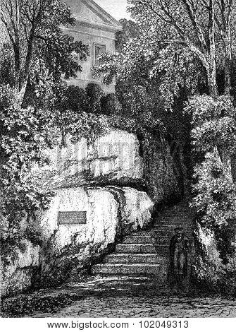 The walk Goethe in Weimar, vintage engraved illustration. Le Tour du Monde, Travel Journal, (1872).