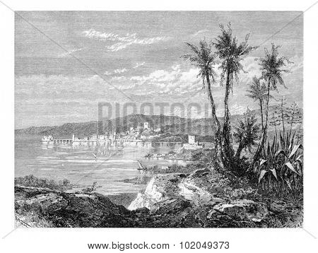 City of Sidon in Lebanon, view from the south of Syria, along the Mediterranean coast, vintage engraved illustration. Le Tour du Monde, Travel Journal, 1881