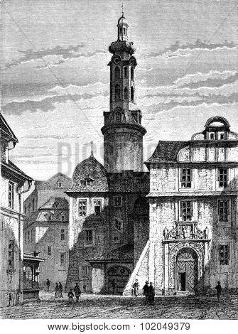 The old castle of Weimar, vintage engraved illustration. Le Tour du Monde, Travel Journal, (1872).