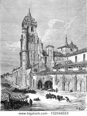 The Monastery of Las Huelgas, near Burgos, vintage engraved illustration. Le Tour du Monde, Travel Journal, (1872).