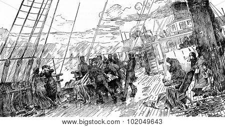 Tables trips. Funeral at sea, after the table of Mr. Bacon, vintage engraved illustration. Journal des Voyages, Travel Journal, (1879-80).