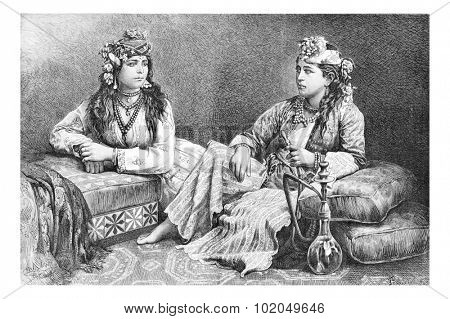 Metouali Women of Sidon, Lebanon, with hookah, vintage engraved illustration. Le Tour du Monde, Travel Journal, 1881