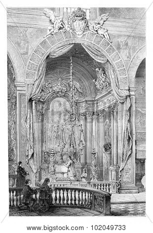Church of Saint Roch or Igreja de Sao Roque in Lisbon, Portugal, drawing by Barclay based on a photograph, vintage engraved illustration. Le Tour du Monde, Travel Journal, 1881