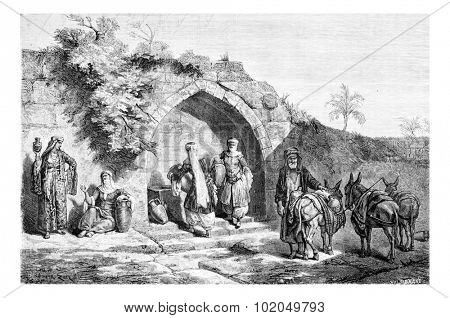 Mary's Well in Nazareth in Israel, vintage engraved illustration. Le Tour du Monde, Travel Journal, 1881