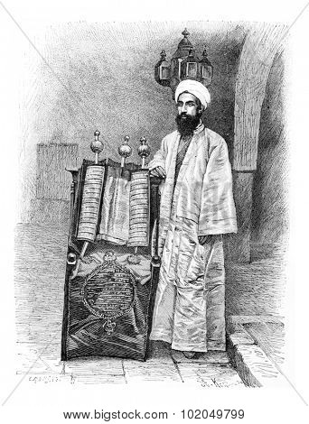 High Priest in Amran, Yemen, vintage engraved illustration. Le Tour du Monde, Travel Journal, 1881