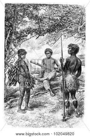 Witoto Indians of Amazonas, Brazil, drawing by Riou from a photograph, vintage engraved illustration. Le Tour du Monde, Travel Journal, 1881