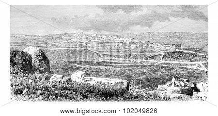 Town of Beitin in West Bank, Israel, vintage engraved illustration. Le Tour du Monde, Travel Journal, 1881