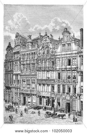 Old Houses in Brussels, Belgium, drawing by Benoist based on a photograph, vintage illustration. Le Tour du Monde, Travel Journal, 1881