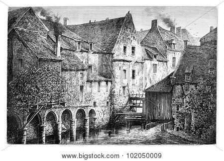 A Corner of the Old Brussels, the Reinshmolen in Brussels, Belgium, drawing by Puttaert, vintage illustration. Le Tour du Monde, Travel Journal, 1881