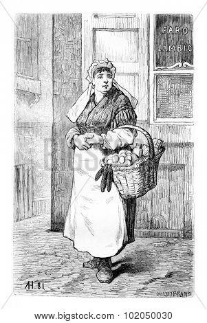 Egg Merchants in Brussels, Belgium, drawing by Hubert, vintage illustration. Le Tour du Monde, Travel Journal, 1881
