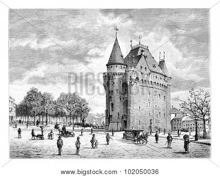 Porte de Hal in Brussels, Belgium, drawing by Taelemans, vintage illustration. Le Tour du Monde, Travel Journal, 1881
