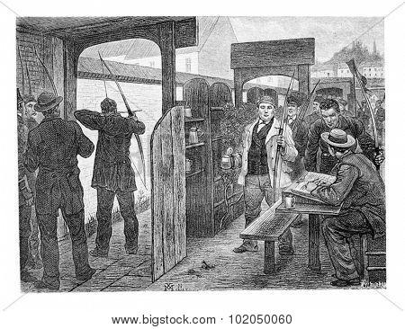 Archery in Brussels, Belgium, drawing by Mellery, vintage illustration. Le Tour du Monde, Travel Journal, 1881
