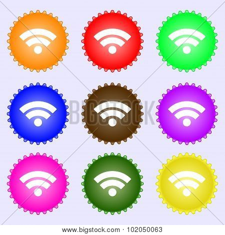 Wifi Sign. Wi-fi Symbol. Wireless Network Icon. Wifi Zone. A Set Of Nine Different Colored Labels. V