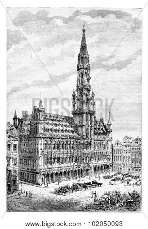 Brussels Town Hall in Brussels, Belgium, drawing by Barclay based on a photograph by Levy, vintage illustration. Le Tour du Monde, Travel Journal, 1881
