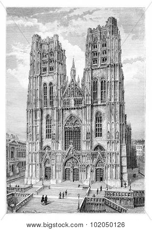 St. Michael and St. Gudula Cathedral in Brussels, Belgium, drawing by Catenacci based on a photograph, vintage illustration. Le Tour du Monde, Travel Journal, 1881