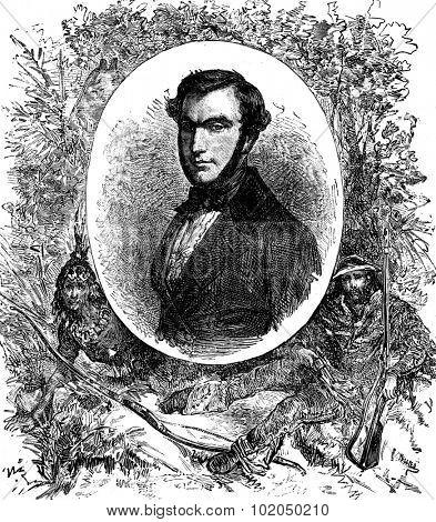 Gabriel Ferry, Author Costal the Indian and woodsman, vintage engraved illustration. Journal des Voyages, Travel Journal, (1879-80).