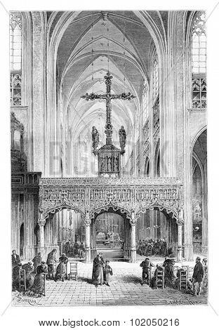 Interior of St. Peter and St. Paul's Church in Liege, Belgium, drawing by Barclay based on a photograph, vintage illustration. Le Tour du Monde, Travel Journal, 1881
