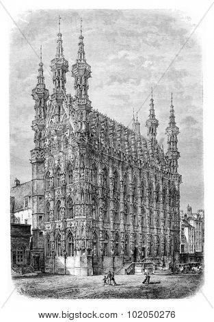Leuven Town Hall in Leuven, Belgium, drawing by Barclay based on a photograph, vintage illustration. Le Tour du Monde, Travel Journal, 1881