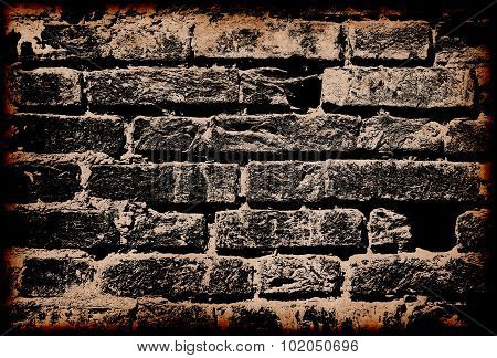 Dark Grunge Brick Wall With Border Frame As Abstract Background.