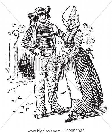 Peasants of Brittany, vintage engraved illustration. Journal des Voyages, Travel Journal, (1879-80).
