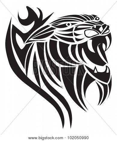 Panther tattoo design, vintage engraved illustration.