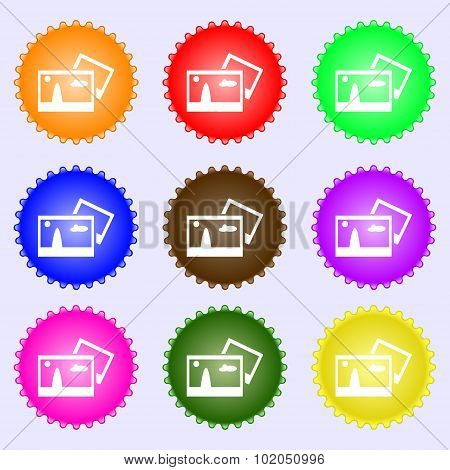 Copy File Jpg Sign Icon. Download Image File Symbol. A Set Of Nine Different Colored Labels. Vector
