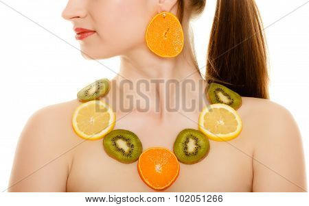 Diet. Girl With Necklace Of Fresh Citrus Fruits Isolated