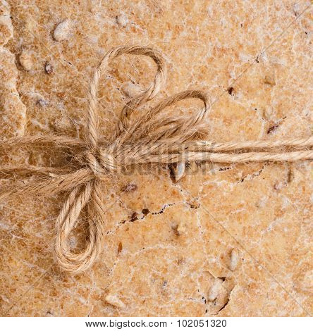 Loaf Bread Background With Rustic String