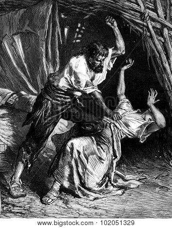 Dona agustina libarona. he struck, he wanted to kill her, vintage engraved illustration. Journal des Voyages, Travel Journal, (1880-81).