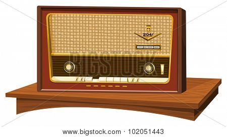 Vector illustration of an old radio.
