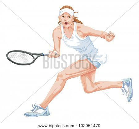 Vector illustration of female tennis player in action.