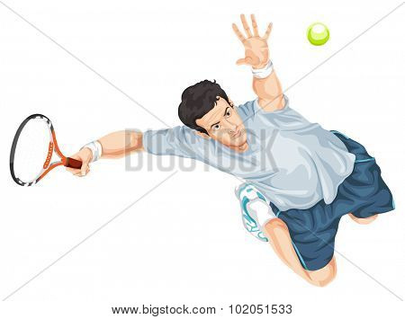 Vector illustration of tennis player hitting the ball.