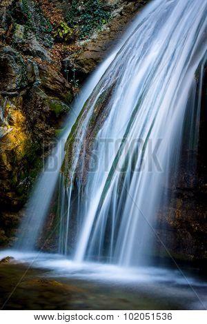 View on run water of mountain waterfall