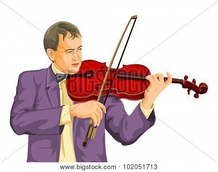 Vector illustration of musician playing violin.