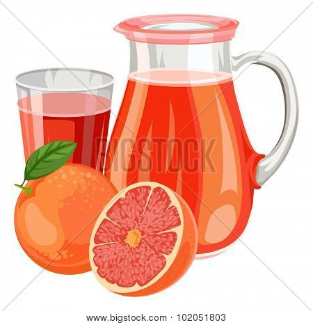 Vector illustration of fresh grapefruit juice in glass and jar.