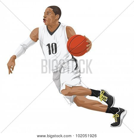 Vector illustration of basketball player in action.