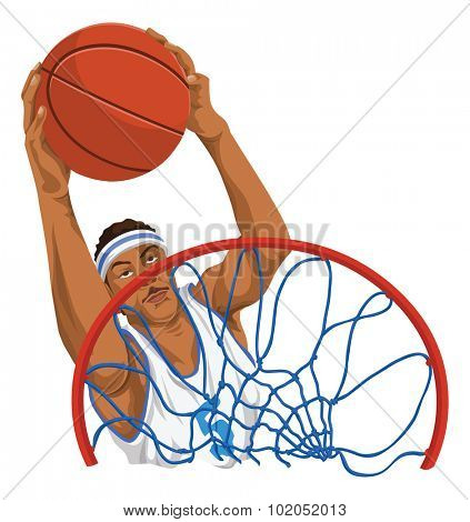 illustration of basketball player throws the ball in basket.