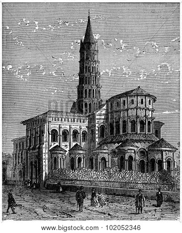 Apse of Saint-Sernin in Toulouse, vintage engraved illustration. Industrial encyclopedia E.-O. Lami - 1875.